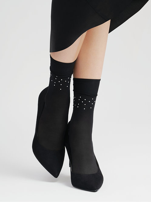 Sheer pop socks, ankle socks, diamante embellishment trim, embellished tights, hosiery, silver black, sparkle shimmer