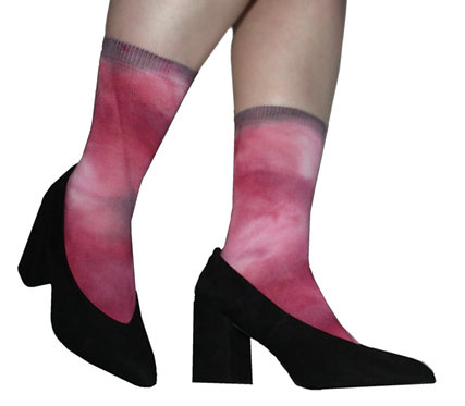 Tie dye socks, acid wash, pink, fuschia, unique, dip dye, ombre, hand dyed.  Valentines day gift, lingerie, kawaii