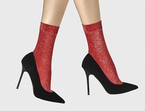 Metallic ankle socks, red, scarlet, silver, glitter, sparkle, sparkly, glitter, glittery, lurex, party, kawaii style