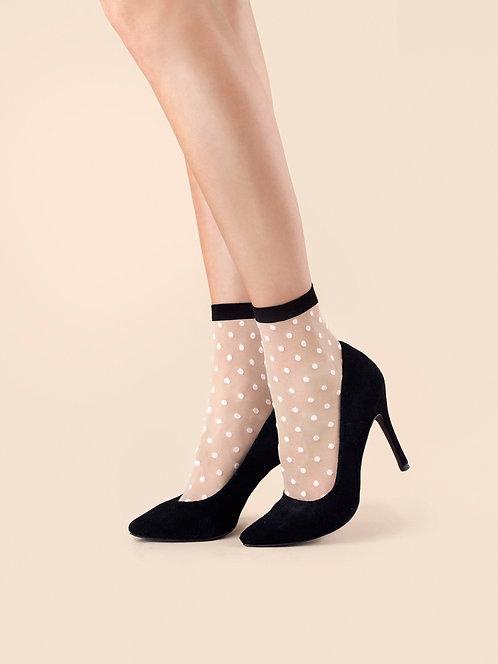Sheer ankle socks, pop socks, black, white, spot, dot, polka dot, dotty, spotty, transparent, gauze, tulle, Fiore Bubble Gum