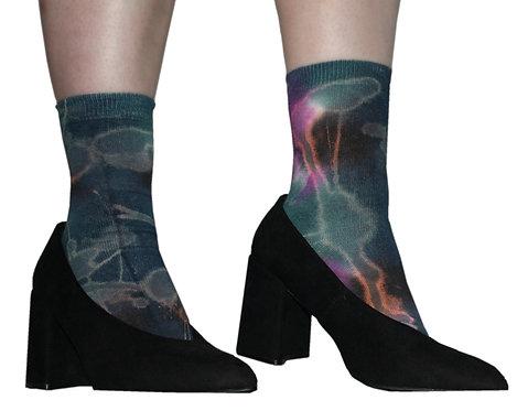 Tie dye socks, acid wash, purple, blue, unique, dip dye, ombre, hand dyed.  Nebula, cosmic, cotton ankle socks, space dye