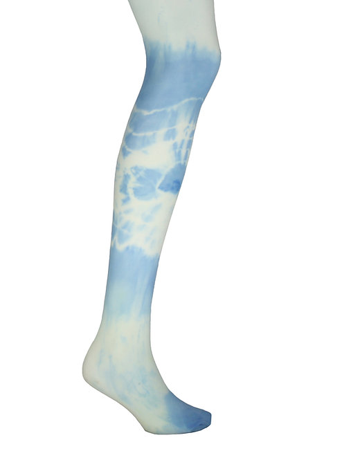 Tie dye tights, dip dyed pantyhose, stockings, hosiery, ripple pattern, patterned tights, 40 denier, pale yellow, pale blue,