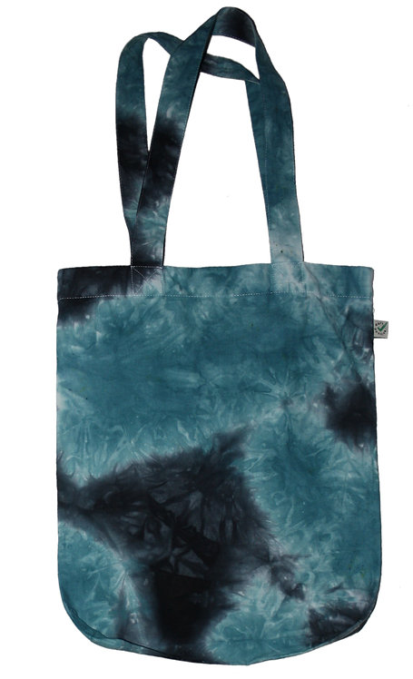 teal black white Bag for life, tote bag, organic cotton, fair trade, hand dyed, dip dye, tie dye, ombre, earth positive, eco