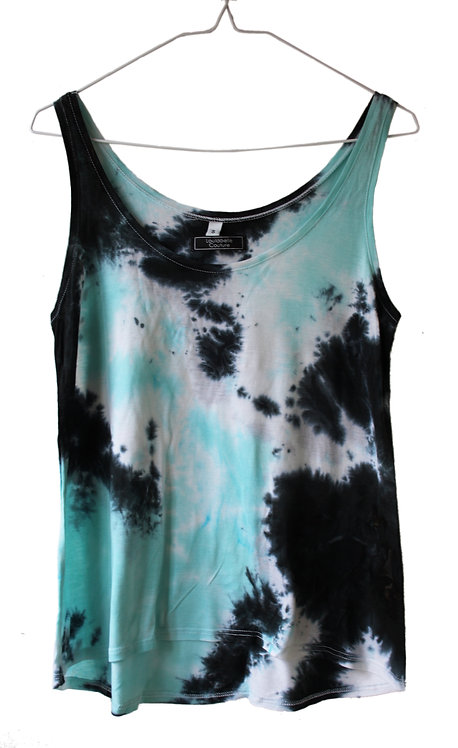 Tencel Lyocell Lyocel Eco friendly fair trade vest top.  Floaty drape Cami tshirt.  Tie dye acid wash festival clothing