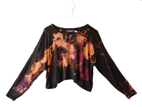 Oversized sleeved cropped top, crop tshirt, t-shirt, slouchy yoga wear, shibori, yoga clothing, tie dye rust black purple