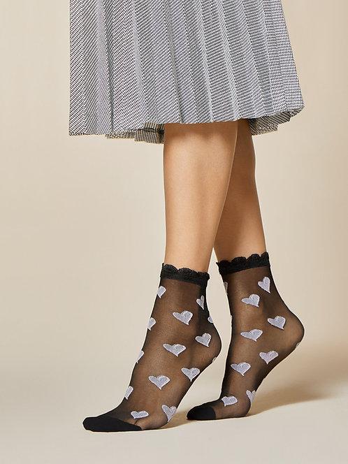 Ankle socks, cute heart pattern.  Lilac, black, sheer, frill.  Japanese fashion, kawaii, cute, summer, spring, pretty,