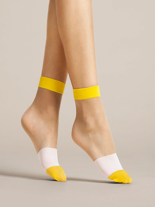 Sheer ankle socks, yellow, white, cotton socks, tulle, see through, striped, stripey, socks and shoes