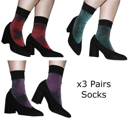 17b7a1edd8c88 Hand dyed metallic ankle socks, red, purple teal glitter, sparkle, lurex,  ...