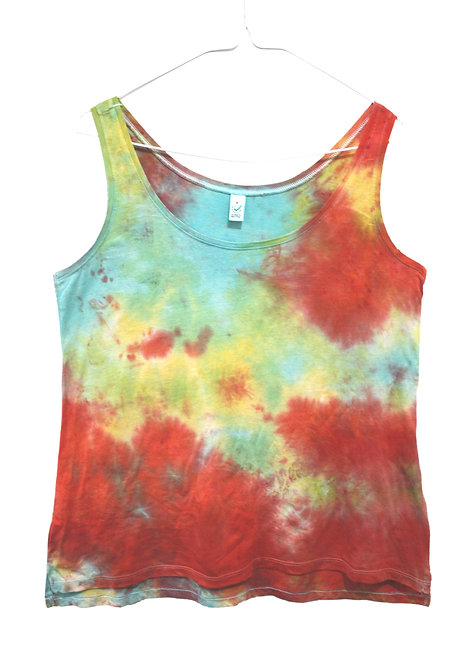 Tie Dye vest top, RAINBOW , dip dyed tencel lyocell, lyocel organic cotton, sustainable eco friendly, pride, lgbtq+, red,