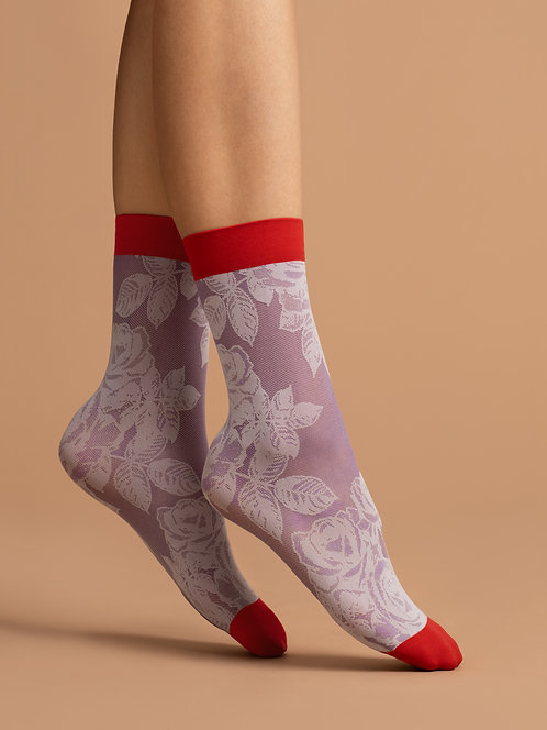 Sheer ankle socks, rose, flower, purple, red, lilac, scarlet, pop socks, patterned, floral, cute, kawaii, delicate
