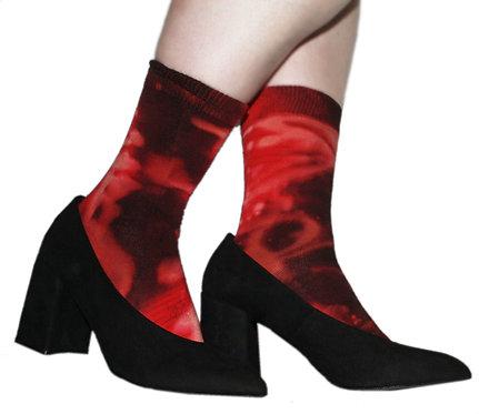 Hand dyed cotton rich socks, nebula, space, tie dye, acid wash, loulabelle couture vogue magazine, spitalfields market, ankle