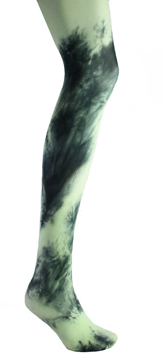mint green blue Tie dye, hand dyed dip dyed opaque tights.  patterned hosiery japanese fashion kawaii style cute patterned