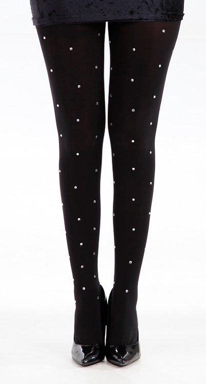 Rhinestone studded tights, black, glitter, shimmer, shiney, cute christmas, kawaii style, japanese fashion