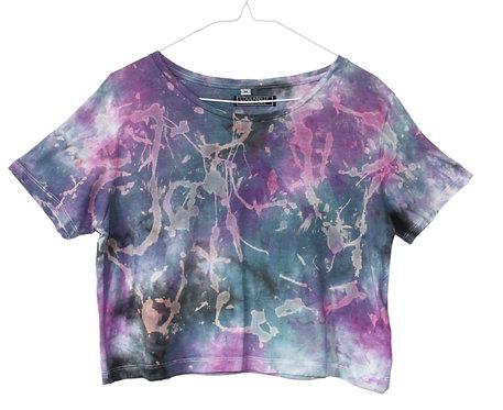 Tie dye cotton t-shirt. cropped top, crop tshirt, shibori t shirt, nebula acid wash space cosmic, fair trade organic festival