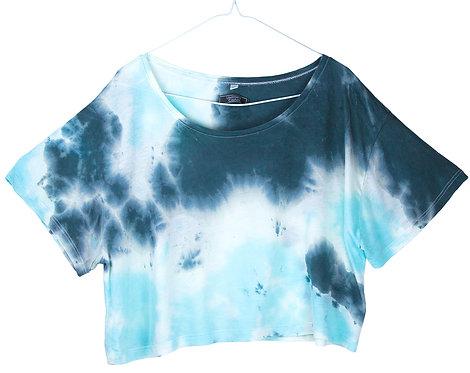 Hand dyed, tie dye crop top.  Cropped t-shirt, yoga t shirt, nebula ombre.  Tencel Lyocel, lyocell fabric.  AQUA BLUE BLACK