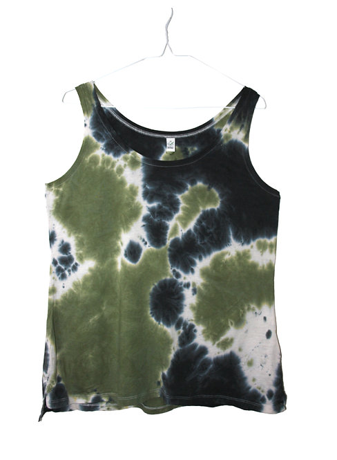 Tie Dye vest top, khaki green white black, dip dyed tencel lyocell, lyocel organic cotton, sustainable eco friendly