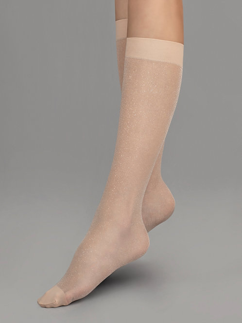 shimmer, glitter, lurex, sparkle, glittery, knee high socks, knee, trouser socks, beige, sheer, party, delicate, transparent