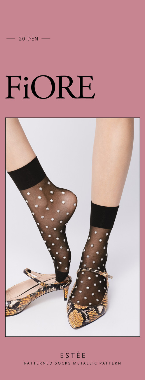 ea8c8c0321cfe6 Sheer metallic Ankle socks - BLACK with GOLD - FiORE