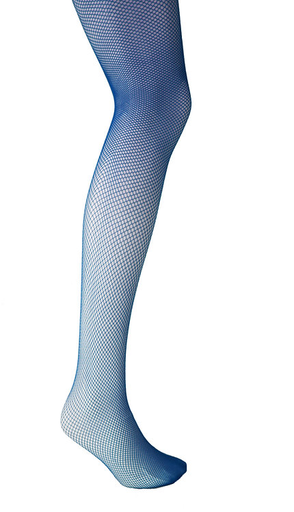 Fishnet tights, pantyhose hosiery stocking, block plain colour, bright color, royal blue