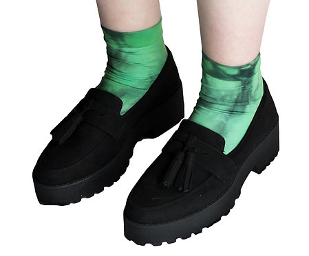 Emerald Green Ankle socks, unique tie dye, dip dyed, ombre gradient graduated.  colourful goth gothic, pastel mermaid unicorn