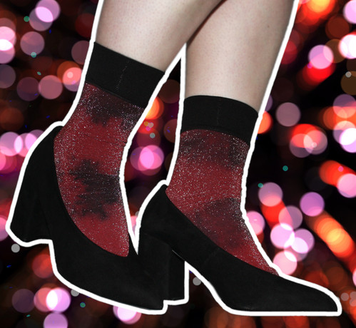 b8b2d1585c1a0 ... glittery Hand dyed metallic ankle socks, red, black glitter, sparkle,  lurex, glittery