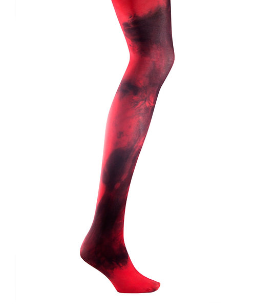 Red Tie dye, hand dyed dip dyed opaque tights.  Cos play japanese fashion kawaii style hippie hippy cute hosiery pantyhose