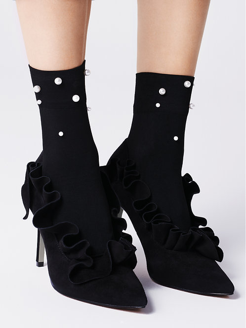 Embellished ankle socks, black pearl trim, embellishment, fashion, autumn, christmas party, kawaii style, japanese fashion