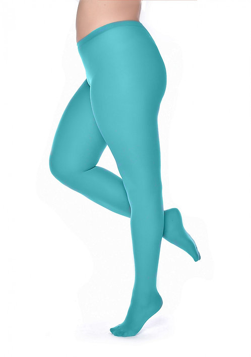 Plain opaque tights, 3XL, plus size, extra large hosiery, colourful, colorful, bright, aqua blue green, curve, curvy,