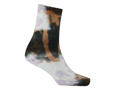 Pastel Purple cosmic tie dye cotton ankle socks, acid wash, bleach, nebula pattern, cute, kawaii style, japanese fashion