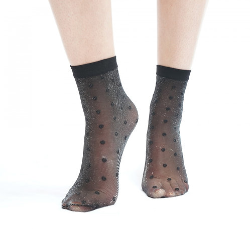 Ankle socks , glitter, lurex, sparkle, sparkly, sparkley, shimmer, metallic, black, sheer,spotty, dot, dotty, spot