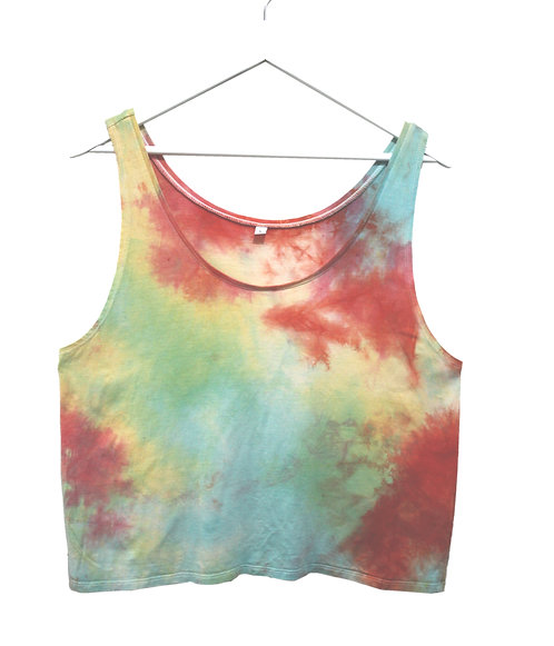 Tie Dye vest top, RAINBOW , dip dyed Ecovero, organic cotton, sustainable eco friendly, pride, lgbtq+, red, crop, cropped