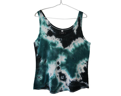 Tencel Lyocell Lyocel Eco friendly fair trade vest top.  Floaty drape Cami tshirt.  Tie dye acid wash festival clothing