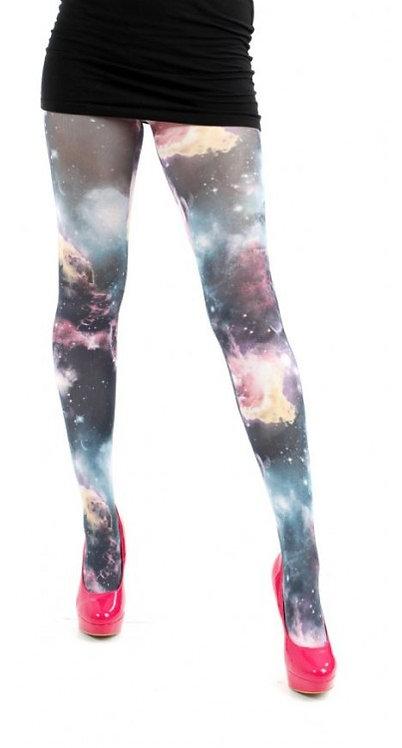 Tights, hosiery, stockings, socks, pantyhose, colourful, print, printed, festival, glastonbury, coachella, space, nebula,