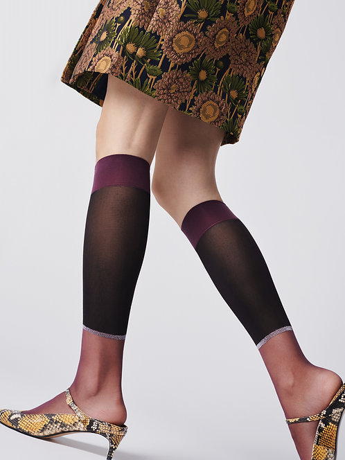 knee high trouser socks, sheer panel, metallic, silver, sparkle, sparkly, glitter, lurex, violet, party outfit, christmas