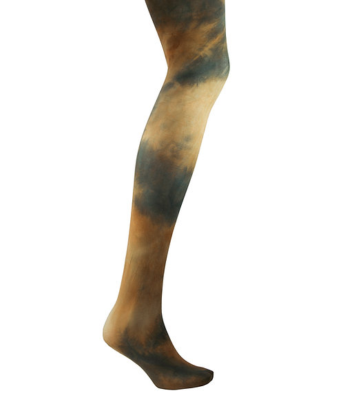 olive brown green Tie dye, hand dyed dip dyed opaque tights.  patterned hosiery japanese fashion kawaii style cute patterned