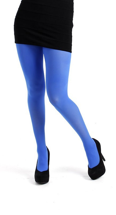 opaque colourful royal blue tights, fluorescent, bright, turquoise, kawaii style, japanese fashion, pamela mann, spitalfields