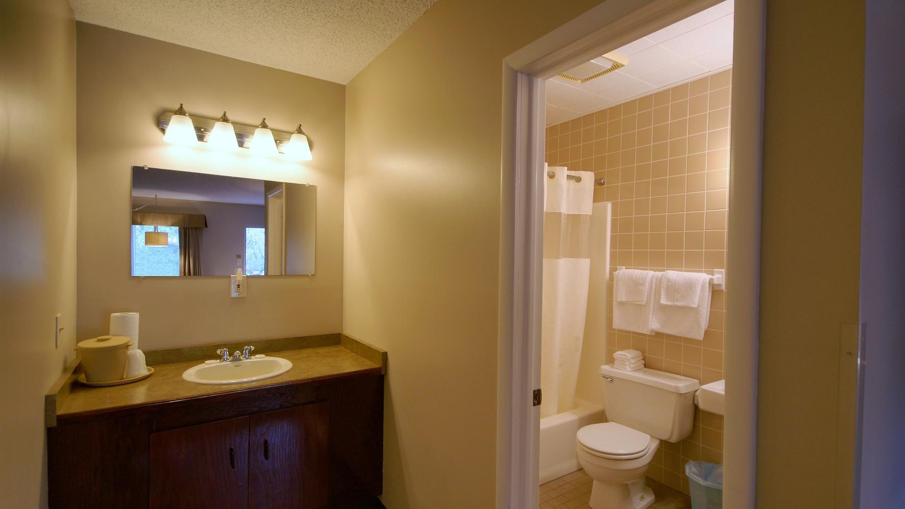 Deluxe Suite vanity & bathroom