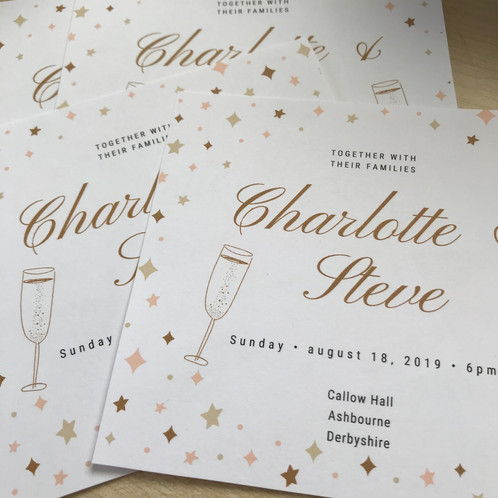 Gold Stars Personalised Wedding Invitation