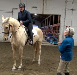 Page teaching Julie, riding Gunner