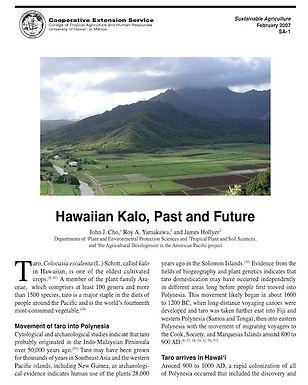 Hawaiian Kalo, Past and Future