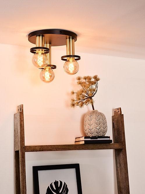 ANAKA - Flush ceiling light - Ø 30 cm - 3xE27 - Black