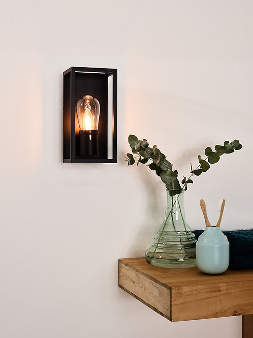 CARLYN - Wall light Bathroom - 1xE14 - IP54 - Black