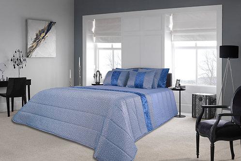 Colcha em tecido Jacquard com veludo Cor: Azul