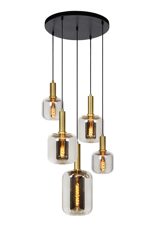 JOANET - Pendant light - Ø 71 cm - 5xE27 - Smoke Grey