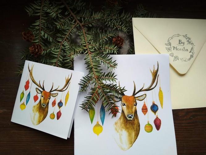 Vánoční jelen s kuličkami