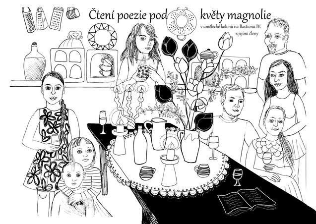 Čtení poezie pod květy Magnolie se členy Umělecké kolonie na Bastionu IV