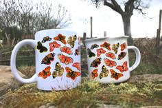 Motýli keramický hrnek a plecháček