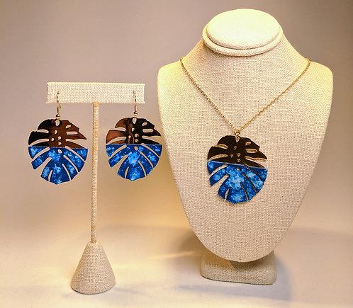 Monstera Earrings and Pendant Set (Ocean)
