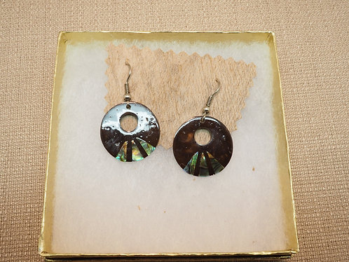 Coconut Earrings Circle Shell Inlay
