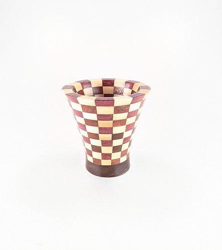 Miniature Segmented Koa, Maple, and Purple Heart Vessel